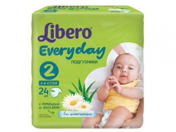 Подгузники Libero Everyday Mini 2 (3-6 кг) 24 шт.