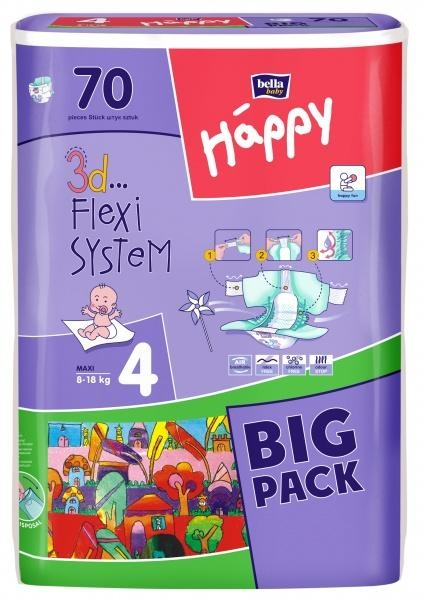 Подгузники Bella Happy Maxi 4 (8-18 кг) BIG PACK 70 шт. - Pampik