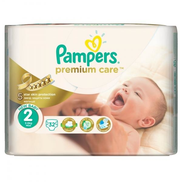 Подгузники Pampers Premium Care Dry Max Mini 2 (3-6 кг) 32 шт. - Pampik