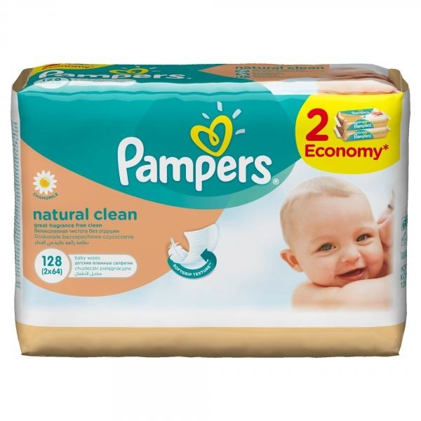 Влажные салфетки Pampers Naturally Clean, 2x64 шт.