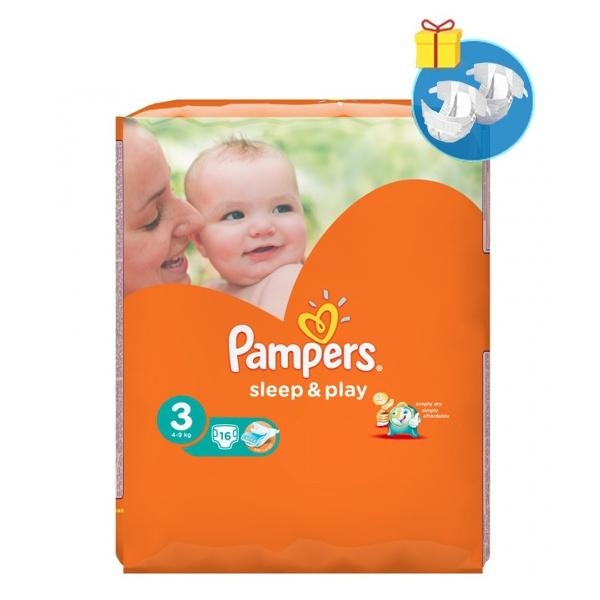 Подгузники Pampers Sleep&Play Midi 3 (4-9 кг) 16 шт.+Подарок (Pampers Premium Care Midi, 2 шт.) - Pampik - 5