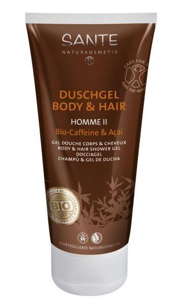 БИО-Шампунь для волос и тела Sante Кофеин и Ягоды Асаи для мужчин, 200 мл