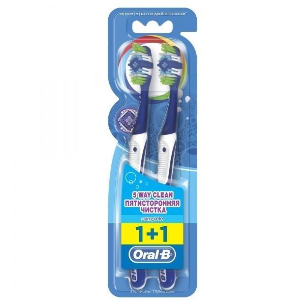 Зубная щетка Oral-b Пятисторонняя чистка, темно-синий, 2 шт.