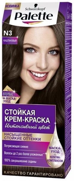 Краска для волос Palette N-3 Каштановый, 110 мл