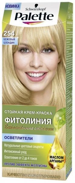 Краска для волос Palette Фитолиния 254 Бежевый блондин, 110 мл