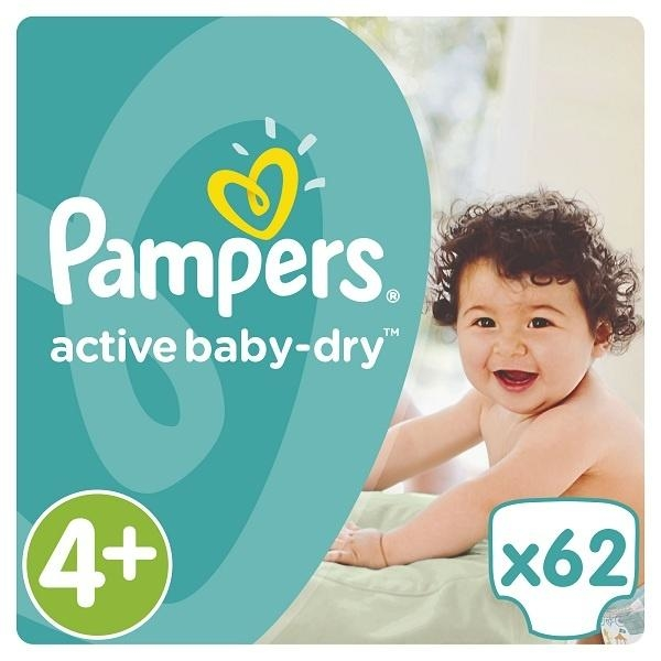 Подгузники Pampers Active Baby-Dry Maxi Plus 4+ (9-16 кг) JUMBO PACK 62 шт. - Pampik