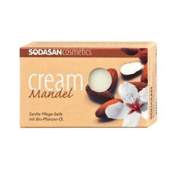 Органическое мыло-крем Sodasan Almond для лица с маслами Ши и Миндаля, 100 г