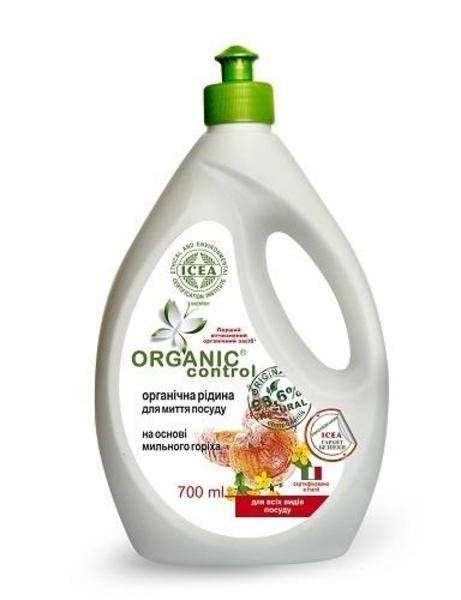 Органическая жидкость для мытья посуды Organic Control на основе мыльного ореха, 700 мл