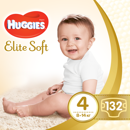 Подгузники Huggies Elite Soft 4 (8-14 кг) BOX, 132 шт. - Pampik