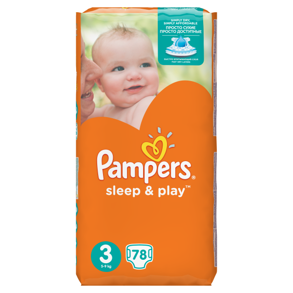Подгузники Pampers Sleep&Play Midi 3 (4-9 кг) JUMBO PACK 78 шт. - Pampik - 2