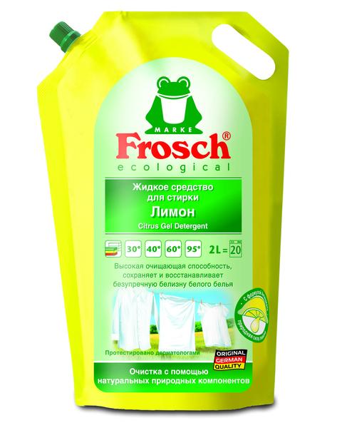 Жидкое средство Frosch Лимон, для стирки белых тканей, 2 л