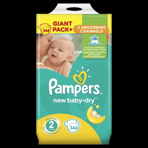 Подгузники Pampers New Baby-Dry Mini 2 (3-6 кг), 144 шт.   Купить в ... fb8ca55d977