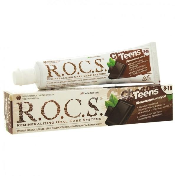 Детская зубная паста R.O.C.S. Teens Шоколадный мусс, 74 г