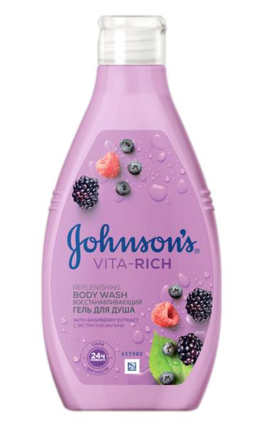 Гель для душа JOHNSON'S® Body Care Vita Rich Восстанавливающий с экстрактом малины (с ароматом лесных ягод), 250 мл