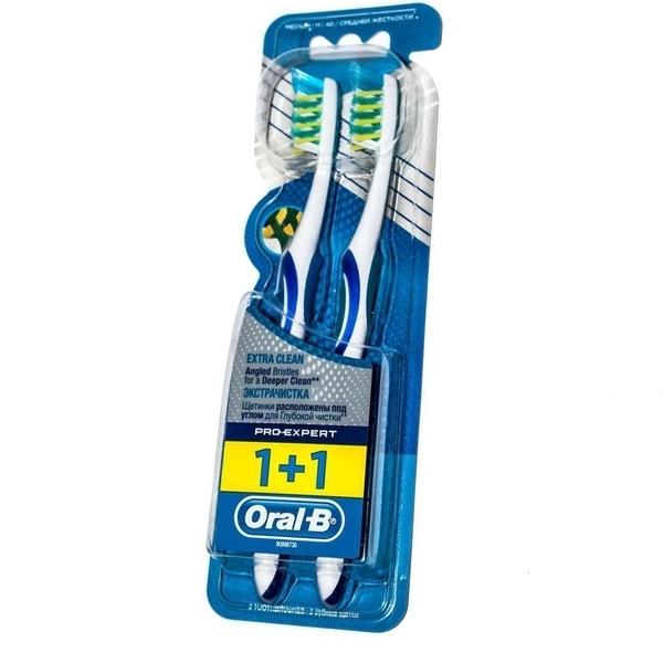 Зубная щетка Oral-b Pro-Expert Экстра Чистка, средняя, синий, 2 шт.