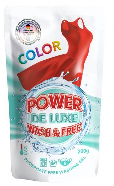 Гель для стирки Power De Luxe, для цветных тканей, 200 г