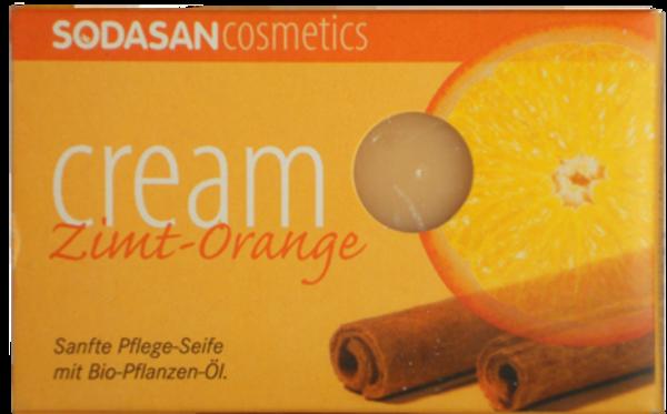 Органическое мыло-крем Sodasan Cinnamon-Orange, для лица, с маслами ши, корицы и апельсина, 100 г