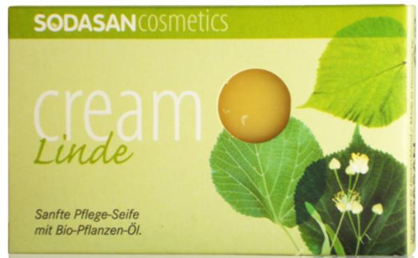 Органическое мыло-крем Sodasan Lime Tree Blossoms, для лица, с маслами ши и цветами липы, 100 г