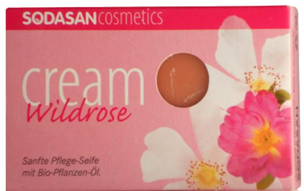 Органическое мыло-крем Sodasan Wild roses, для лица, с маслами ши и Диких роз, 100 г