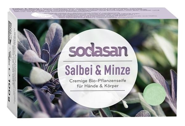 Органическое мыло Sodasan Шалфей-Мята, для лица, антисептическое, 100 г