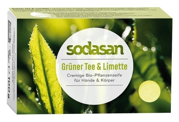 Органическое мыло Sodasan Зеленый чай-Лайм, для лица, антибактериальное, 100 г