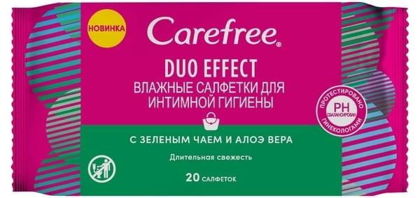 Влажные салфетки для интимной гигиены Carefree Duo Effect, c зеленым чаем и алоэ вера, 20 шт.