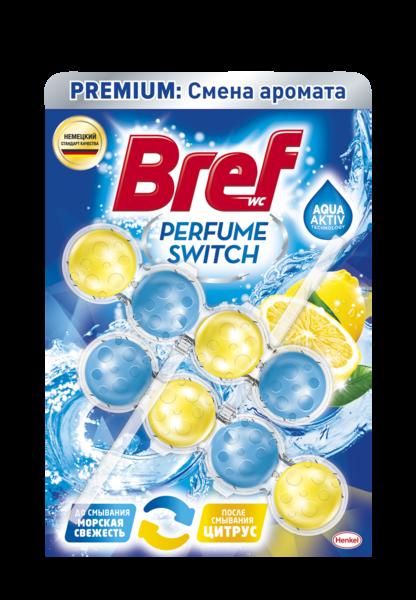 Туалетный блок для унитаза Bref Смена аромата Морская свежесть-Цитрус, 2 шт.