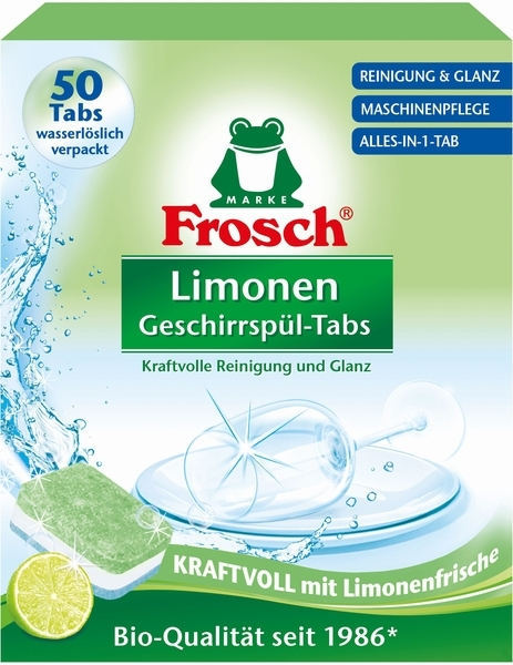 Таблетки для мытья посуды в посудомоечных машинах Frosch Лимон, 50 шт.