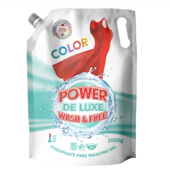 Гель для стирки Power De Luxe, для цветных тканей, 2 л