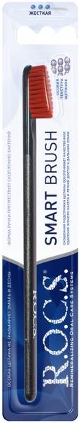 Зубная щетка R.O.C.S. Smart Brush, Модельная, жесткая, черный с красным