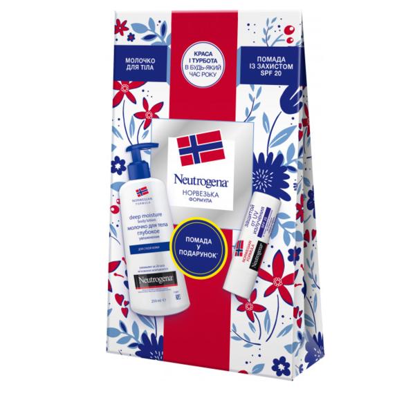 Подарочный набор Neutrogena Красота и забота: молочко для тела Норвежская формула Глубокое увлажнение, 250 мл + помада с защитой Норвежская формула SPF20