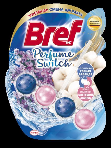 Туалетный блок для унитаза Bref Смена аромата Горная лаванда-Цветущий хлопок, 1 шт.