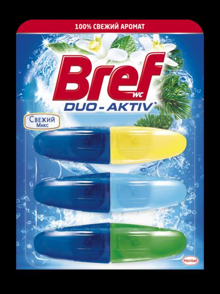 Туалетный блок Bref Duo-Aktiv Свежий микс, 3х50 мл