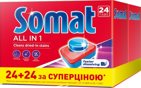 Таблетки для посудомоечных машин Somat Duo All in one, 48 шт. (2 уп. по 24 шт.)