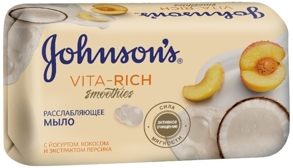 Мыло Johnson's Vita-Rich с йогуртом, кокосом и экстрактом персика, 125 г