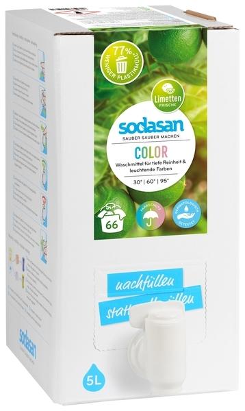 Органическое средство для стирки Sodasan Color, со смягчителем воды, для цветных и черных тканей, 5 л