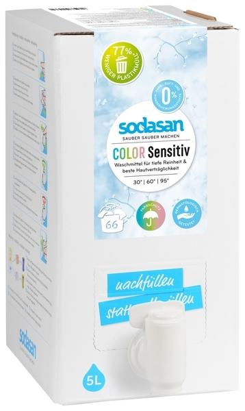 Органическое средство для стирки Sodasan Color, для чувствительной кожи, для детского белья, для цветных и белых тканей, 5 л
