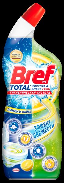 Чистящий гель для унитаза Bref Чистота и блеск Лимон и лайм с эффектом освежителя воздуха, 700 мл