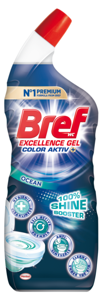 Чистящий гель для унитаза Bref Колор Актив + Яркий блеск Океан, 700 мл