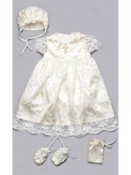 b723f01394c212c Крестильный комплект Модный карапуз с гипюром для девочки, р.68, молочный  (03