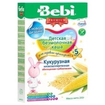 bebi Безмолочная низкоаллергенная каша Bebi Premium кукурузная с пребиотиками, 200 г 1104661