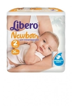 Подгузники Libero Newborn Mini 2 (3-6 кг) 26 шт. Libero