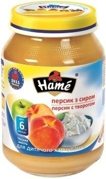 Пюре Hame яблоко и персик с творогом, 190 г Hame