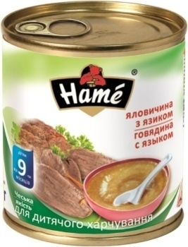 Мясное пюре Hame говядина с языком, 100 г Hame