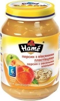 Пюре Hame яблоко и персик с овсяными хлопьями, 190 г Hame
