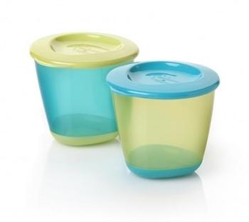 Баночки для пищи Tommee Tippee с крышкой, голубой с салатовым, 2 шт. Tommee Tippee