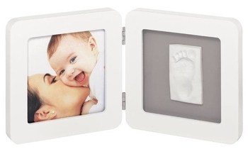 Рамочка Baby Art двойная, белая с серым