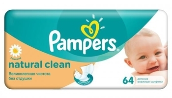 Влажные салфетки Pampers Naturally Clean, 64 шт.