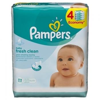 Влажные салфетки Pampers Baby Fresh Clean, 4x64 шт. Pampers