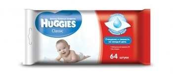 Влажные салфетки Huggies Classic, 64 шт. Huggies